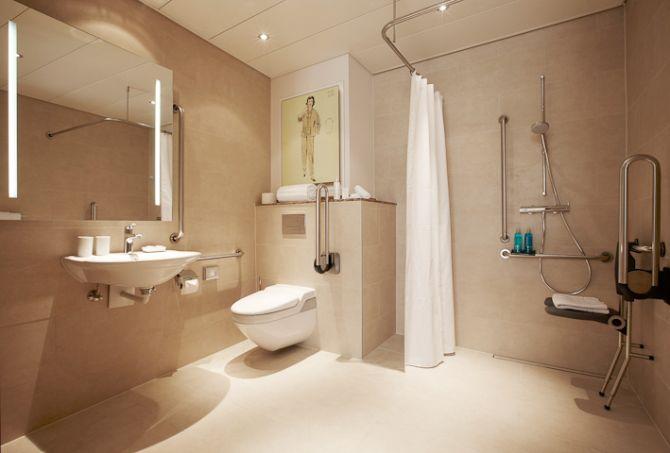 Rollstuhlausgerichtetes Badezimmer