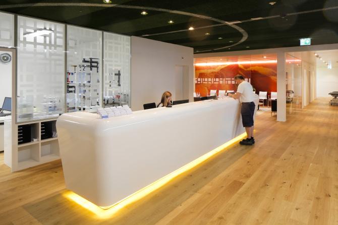 Empfangsbereich Zentrum für Medizin & Sport / Swiss Olympic Medical Center