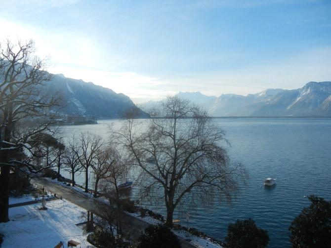 Vue lac en hiver