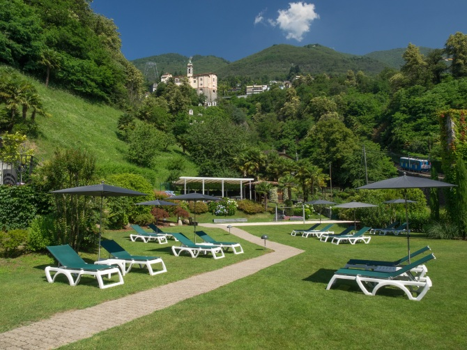 Garden with view of Madonna del Sasso church