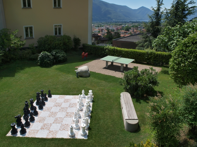 Chess and table tennis in garden
